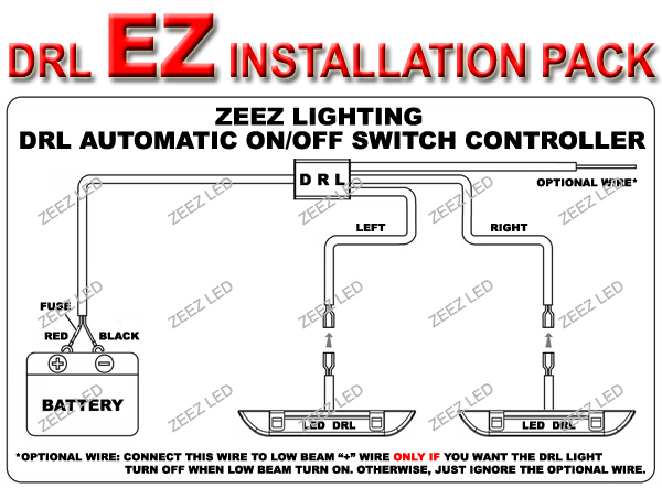 LED DRL Relay Harness Unit Daytime Running Light Automatic OnOff – Led Drl Lights Wiring Schematic